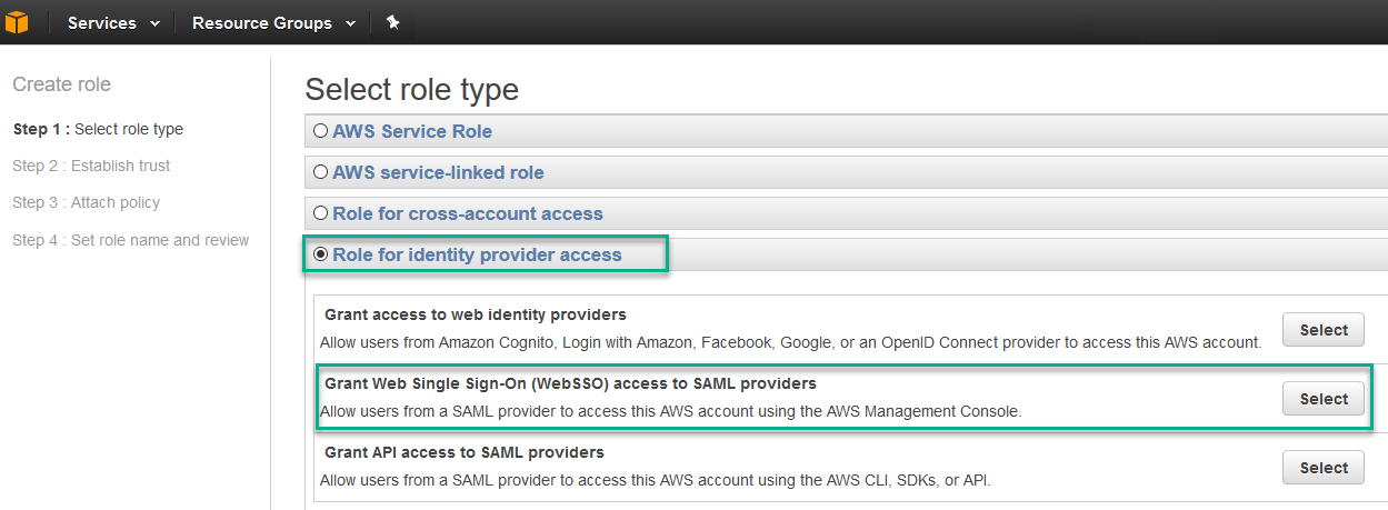 Configure Access Manager to access AWS Management Console with
