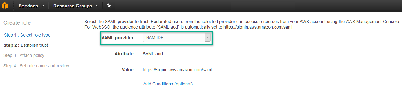 Configure Access Manager to access AWS Management Console