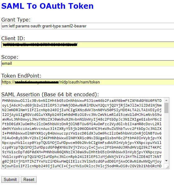 Exchange SAML 2 Assertion with OAuth Access Token Using NAM