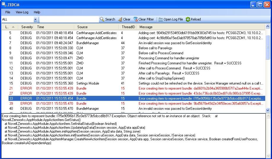 MindWorks: ZEDCM Log Viewer for ZENWorks Configuration