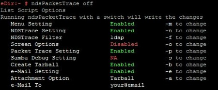 ndstrace off, another way to disabling ldap screen options