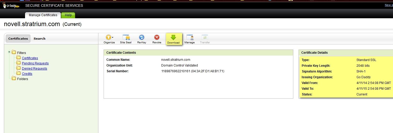 Godaddy SSL Certificates for Filr - Micro Focus Community